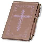 Metal Note Case and Pen Set, Pink Filigree Cross