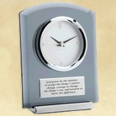 Smoke Glass Desk Clock, Serenity Prayer