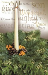 White Candle and Greens, Pack of 100 Bulletins