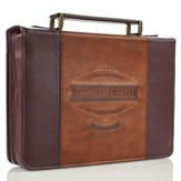Through Christ Bible Cover, Brown, Large