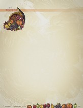 Cornucopia Be Ye Thankful Thanksgiving Letterhead, Pack of 100