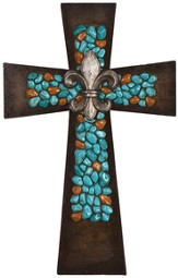 Fleur-de-Lis Wall Cross, Coral and Turquoise