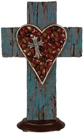 Heart Tabletop Cross, Coral and Turquoise