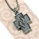 Footprints Cross Pendant