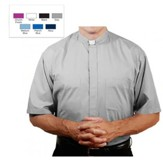 Men's Short Sleeve Clergy Shirt with Tab Collar: Gray, Size 17.5