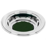 Silver Tone Offering Plate, Green Pad