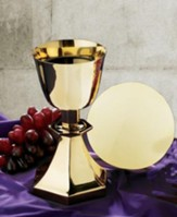 Hexagon Base Chalice and Paten Set