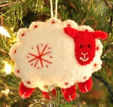 Snowflake Sheep Ornament, White, Fair Trade Product