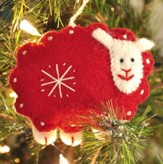 Snowflake Sheep Ornament, Red, Fair Trade Product