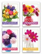 Cheerful Bouquets, Box of 12 Assorted Get Well Cards (NIV)