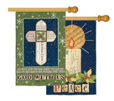 Cross And Candle, Large Art Flag