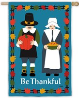Be Thankful (with Pilgrims), Large Flag