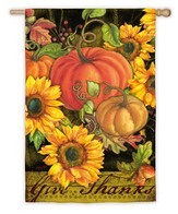 Give Thanks, Pumpkins & Sunflowers, Large Flag