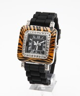 Silicone Band Watch with Tiger Design Dial