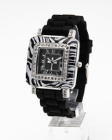 Silicone Band Watch with Zebra Design Dial