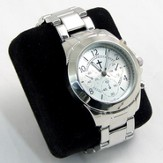 Chronograph Style Watch with Silver Band