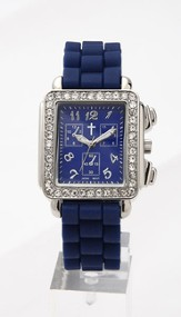 Chronograph Style Square Face Silicone Band, Navy