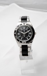 Chronograph Style Watch, Black and Silver