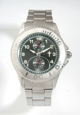 Metal Band Watch with Cross, Silver Dial (Chronograph Eyes are Decorative Only)