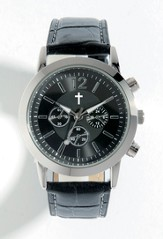 Watch with Cross, Leather band, Black (Chronograph Eyes are Decorative Only)
