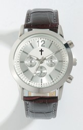 Watch with Cross, Leather band, Brown (Chronograph Eyes are Decorative Only)
