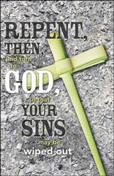 Repent Cross of Palms Ashes Background (Acts 3:19, NIV) Bulletins, 50