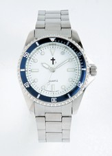 Watch with Cross, Metal and with Blue Dial