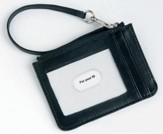 Keyring and ID Pouch with Cross, Black