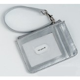 Keyring and ID Pouch with Cross, Silver
