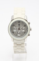 Chronograph Style Watch, White and Silver