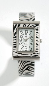 Cuff Watch with Cross, Zebra Pattern