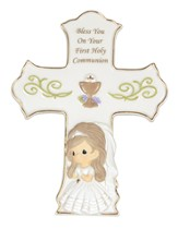 Bless You On Your First Holy Communion, Cross with Easel, Girl