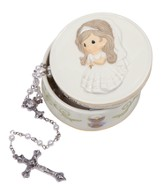 Bless You On Your First Holy Communion, Rosary Box with White Rosary, Girl