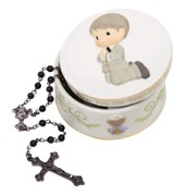 Bless You On Your First Holy Communion, Rosary Box with Black Rosary, Boy