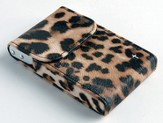Flip Business Card Holder with Cross, Leopard