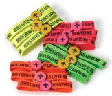 Jesus Loves Me Bracelet, Assorted Colors, Pack of 12
