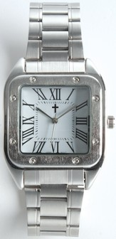 Square Dial Watch, with Cross, White, Boxed