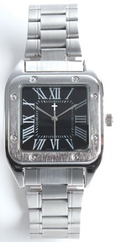 Square Dial Watch, with Cross, Black, Boxed