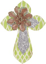 Wall Cross with Flower, Green and Silver