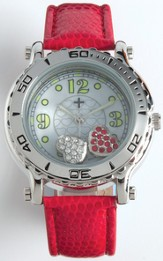Leather Band Watch with Floating Hearts, Red
