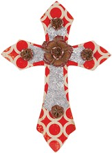 Wall Cross with Flower, Red and Silver