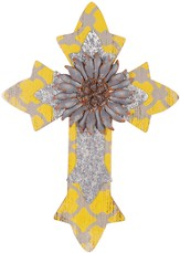 Wall Cross with Flower, Yellow and Silver