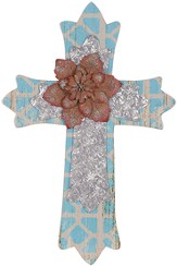 Wall Cross with Flower, Blue and Silver