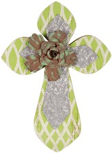 Wall Cross with Flower, Green and Silver, Small