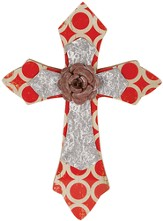 Wall Cross with Flower, Red and Silver, Small