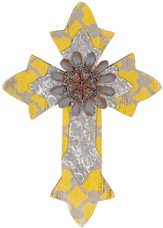 Wall Cross with Flower, Yellow and Silver, Small