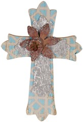 Wall Cross with Flower, Blue and Silver, Small