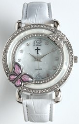 Leather Band Watch with Butterfly, White