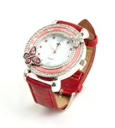 Leather Band Watch with Butterfly, Red