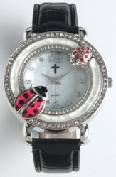 Leather Band Watch with Ladybug, Black